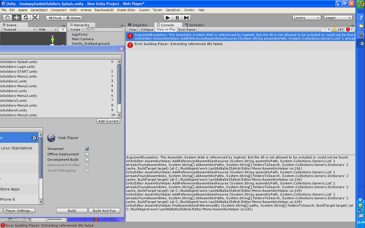 Why can't I build Web Player in Unity while I have no problems with ...