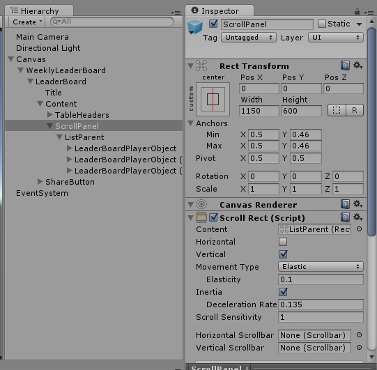 Scroll rect starting in the middle - Unity Answers