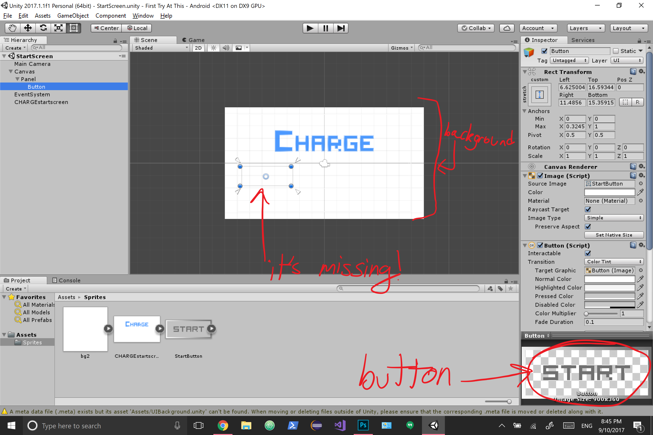 Why are my UI elements hidden behind the background? - Unity