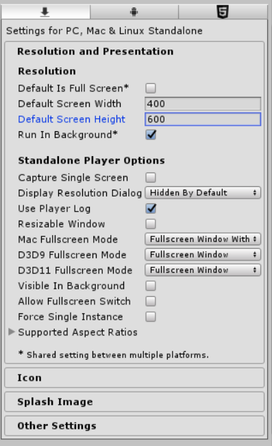 Standalone player default window size? - Unity Answers