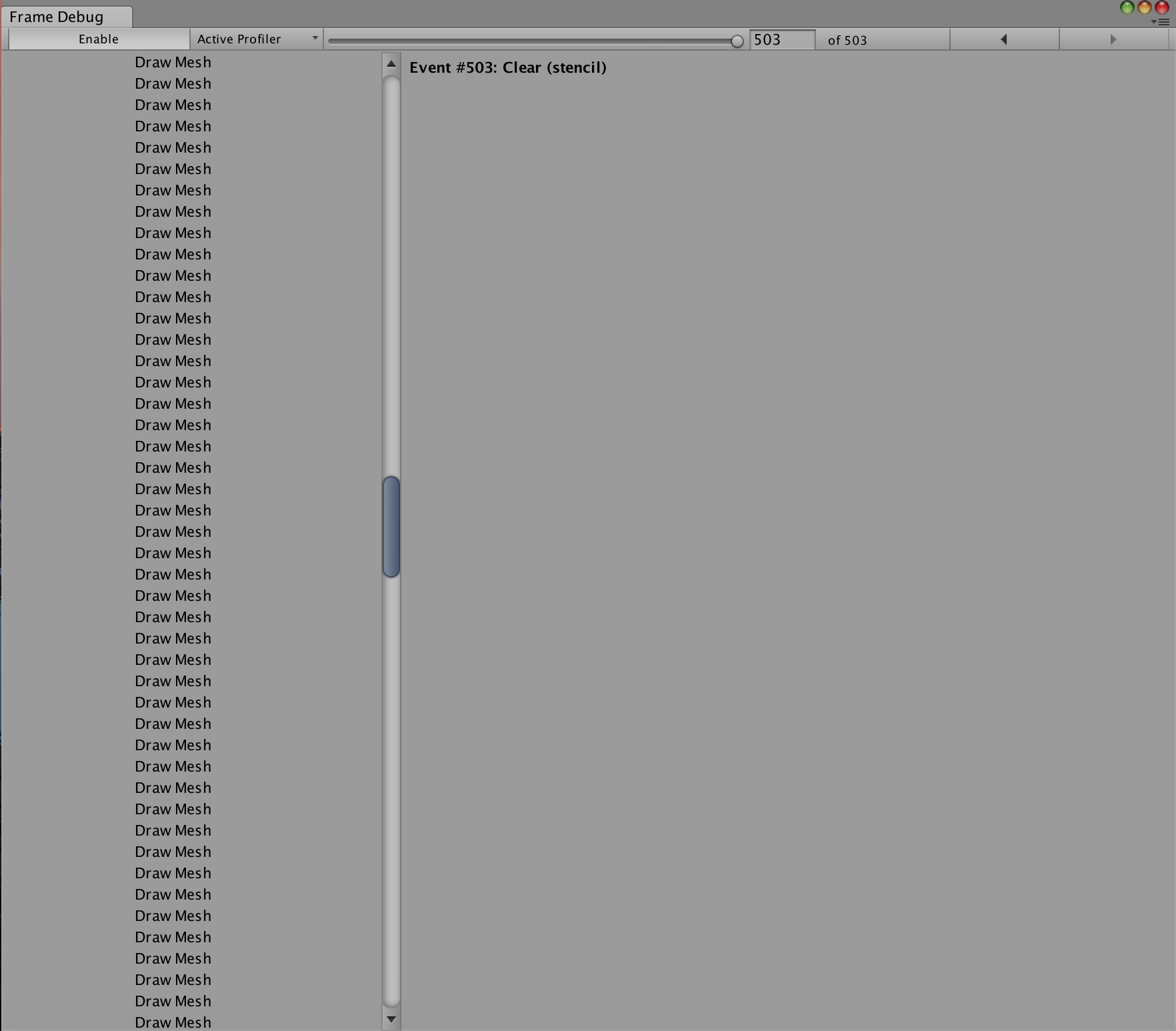 Frame Debugger Can\'t hold frame - Unity Answers