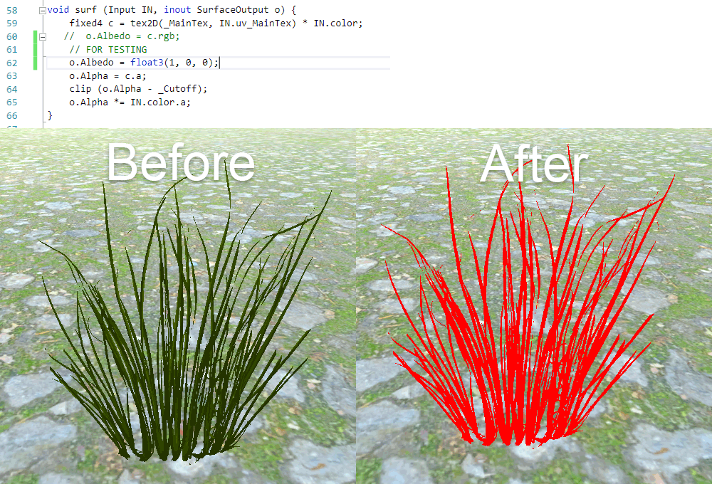 Before and After Grass Shader Modification