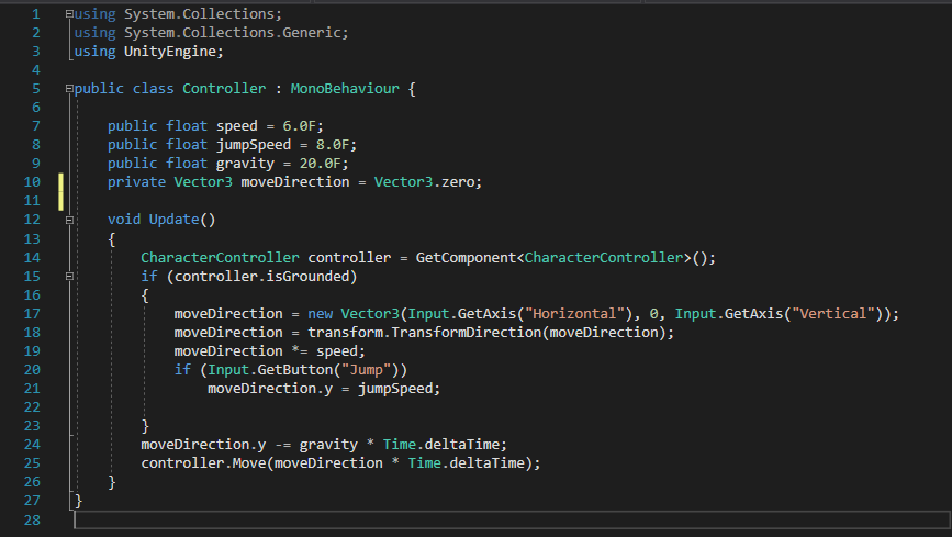 Unity Character Controller Move Direction