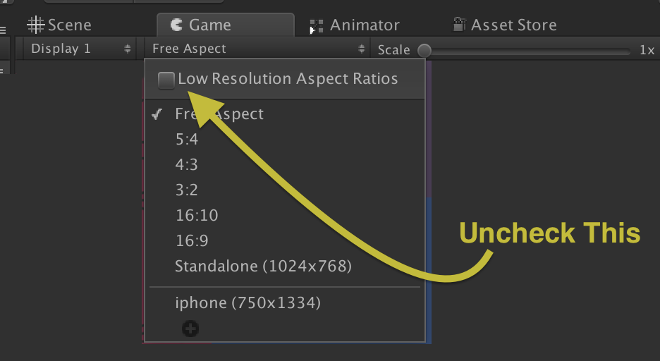 My editor game view is stuck at 2x scale? - Unity Answers