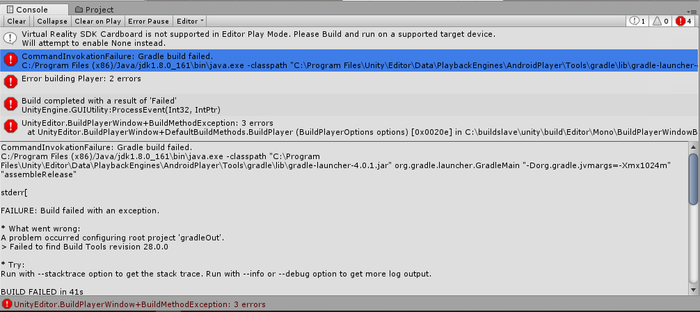 Android build gradle failed - Unity Answers