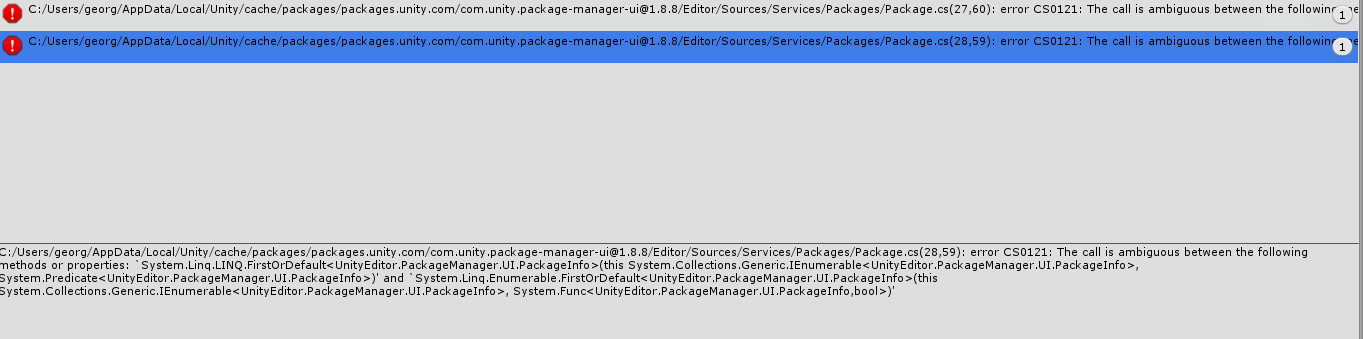 Unity Package Manager UI Error Socket IO Unity after updating from