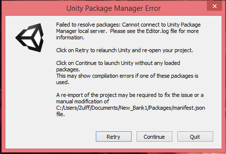 Unity 2018 1 3f1 Cannot connect to Unity Package Manager local