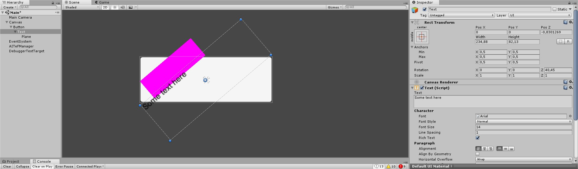 Positioning of Text vertices when text is alligned - Unity
