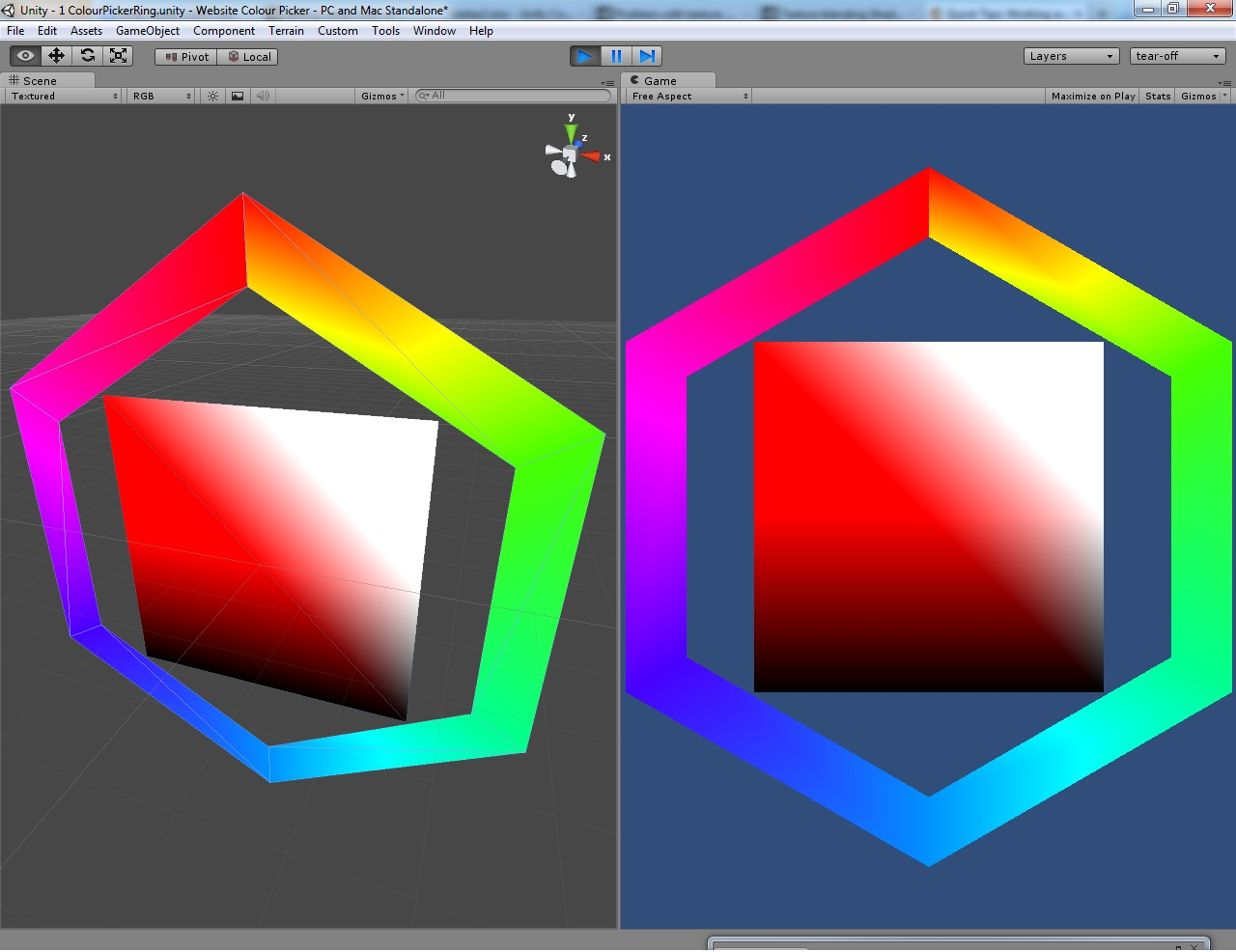 Vertex colours not blending across triangle face - Unity Answers