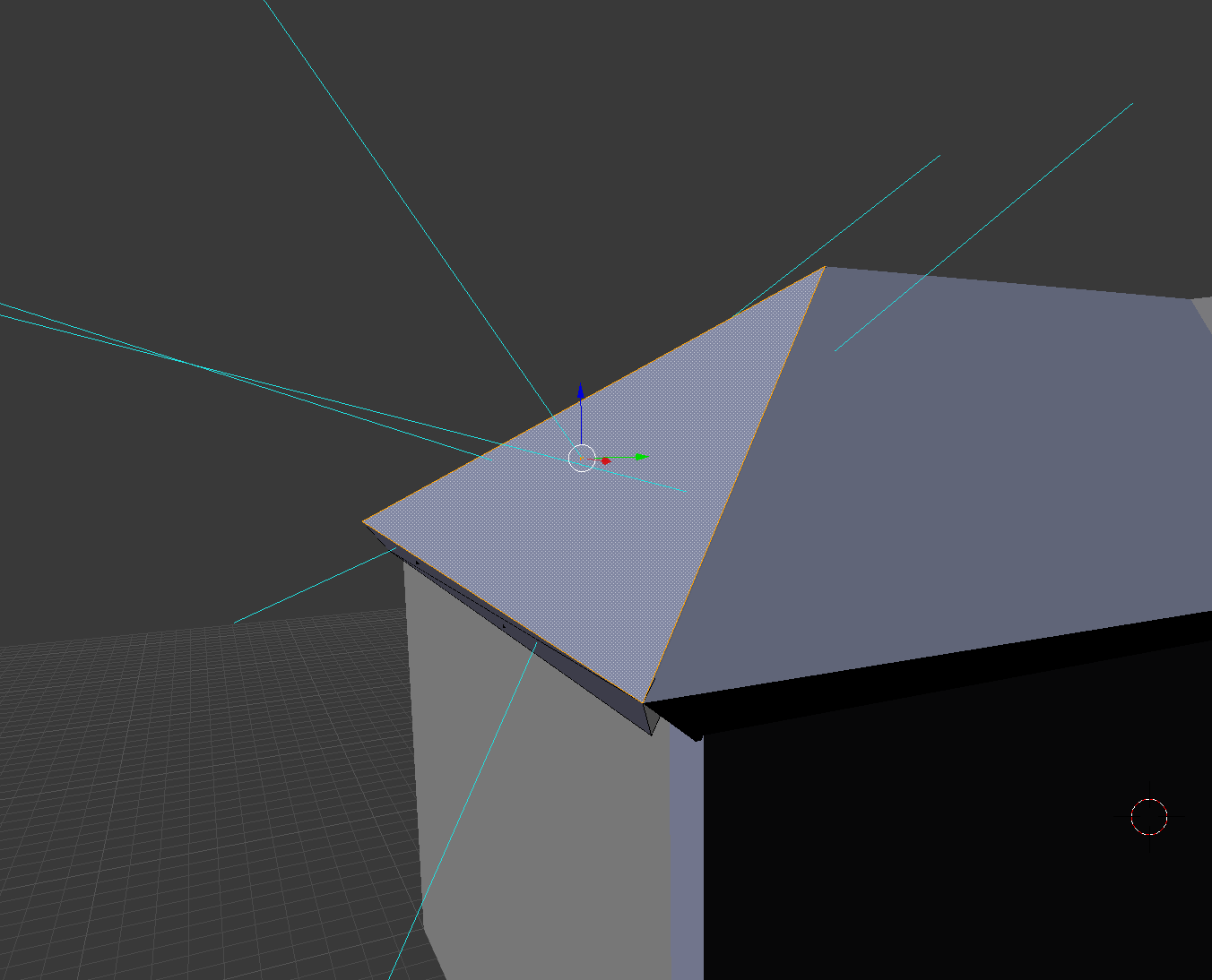 Roof outer face shows in Blender. Normals are shown as well