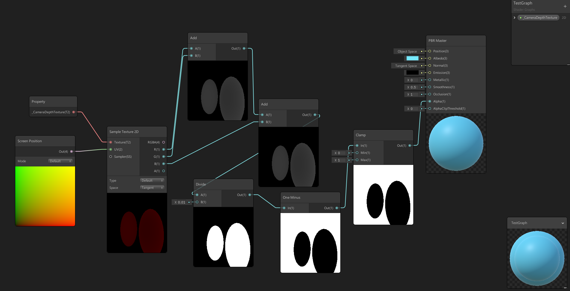 How to create a shader in Shader Graph that masks out the