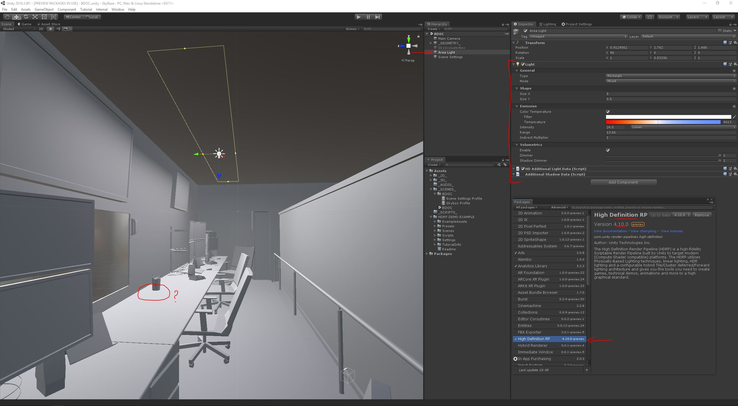 Unity 2018 3 8f1 HDRP : Area Light Shadows feature not