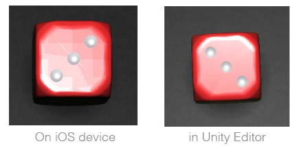 screenshot of specular problem on iOS compared to editor
