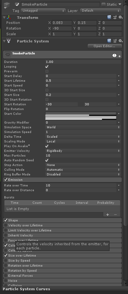 Smoke Particle Not Playing Continuously - Unity Answers