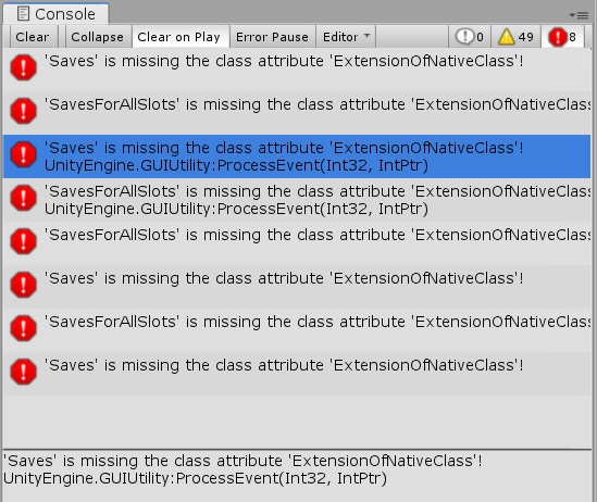 Missing the class attribute 'ExtensionOfNativeClass' - Unity