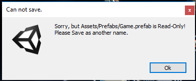 unity error: can not save prefab - Unity Answers