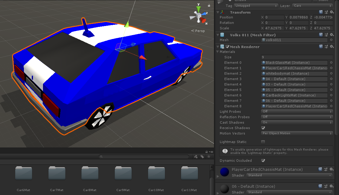 Material Instance Created in Car Model Prefab - Unity Answers