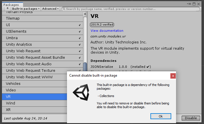 VR package requires Collections package - Unity Answers