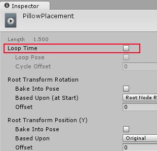 Loop Time property set to only play the animation once