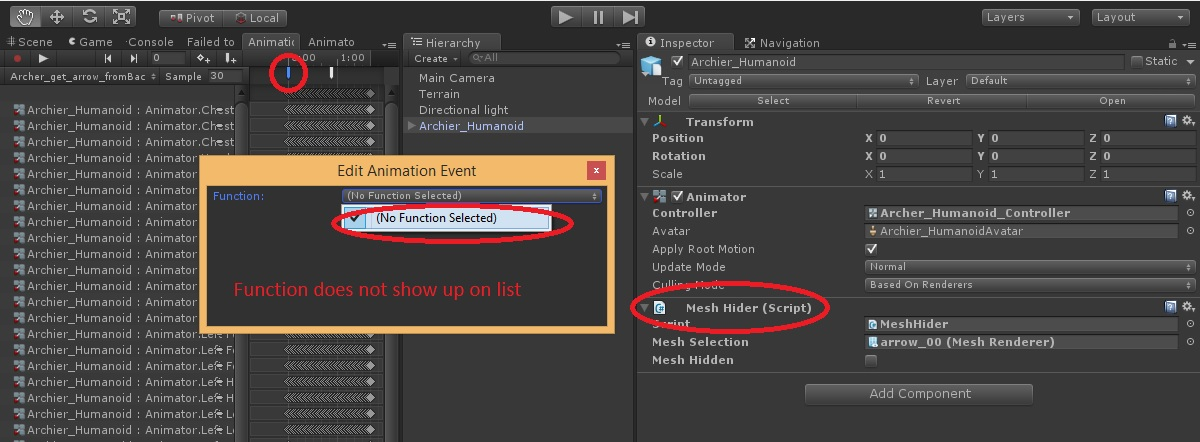 Cannot select Animation Event - Unity Answers