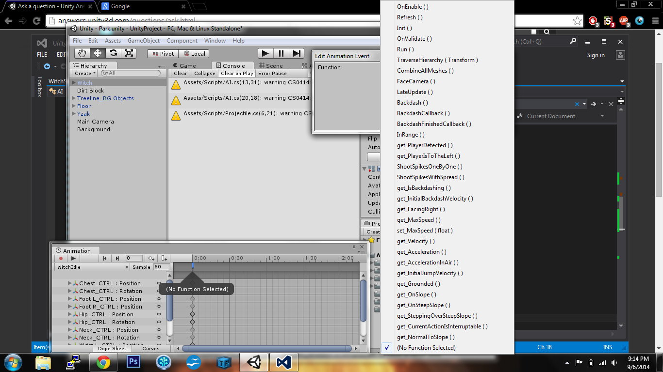 Can't add animation event because there's too many functions