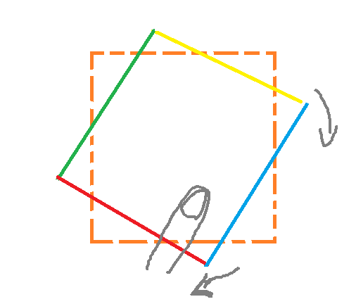 Rotate Object with touch    when rotation greater than 45