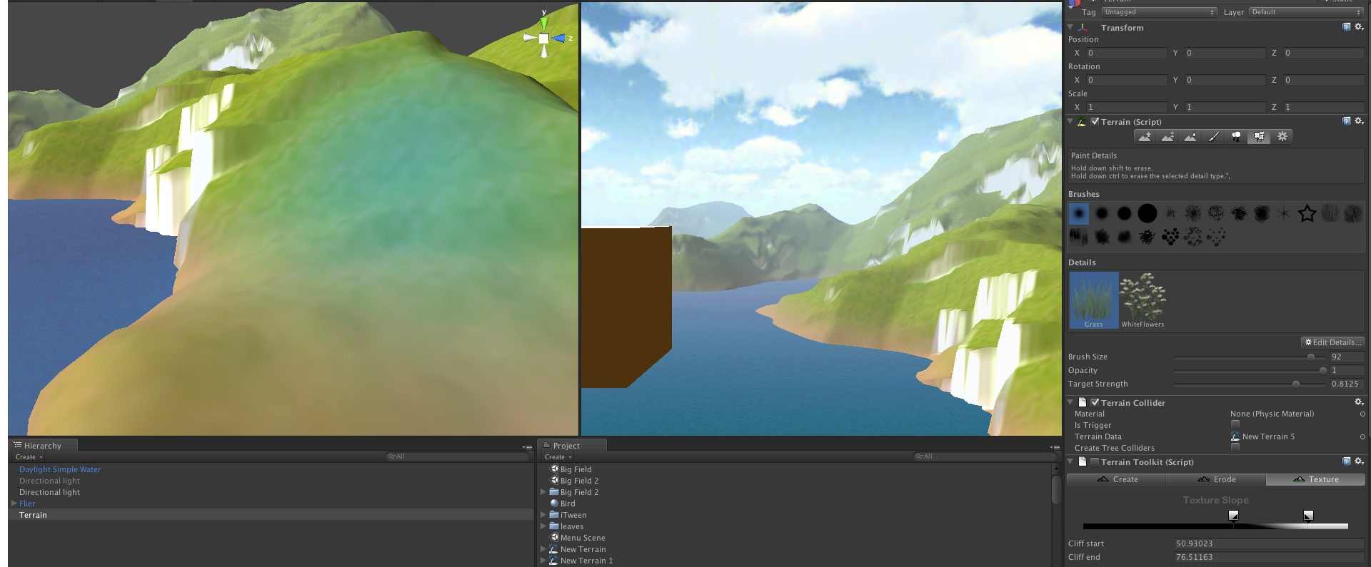 Grass settings in the Editor. Note that the entire terrain has previously been coated in grass but it now shows in neither scene view nor game view.