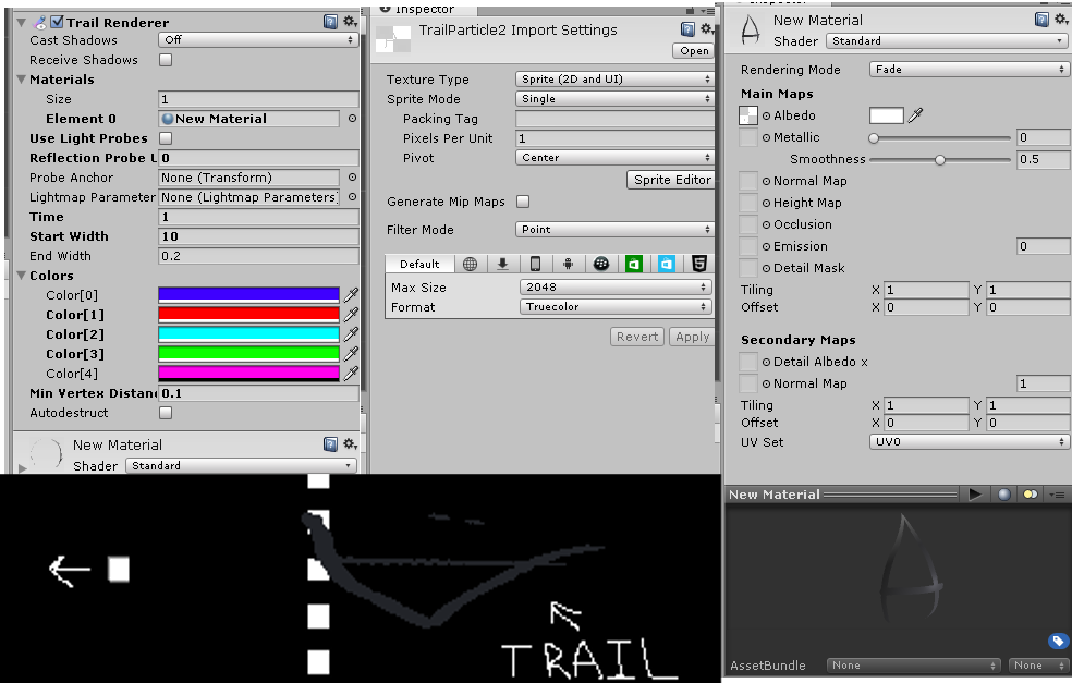 Trail Renderer, Trail Texture Import, Trail Material, In-game