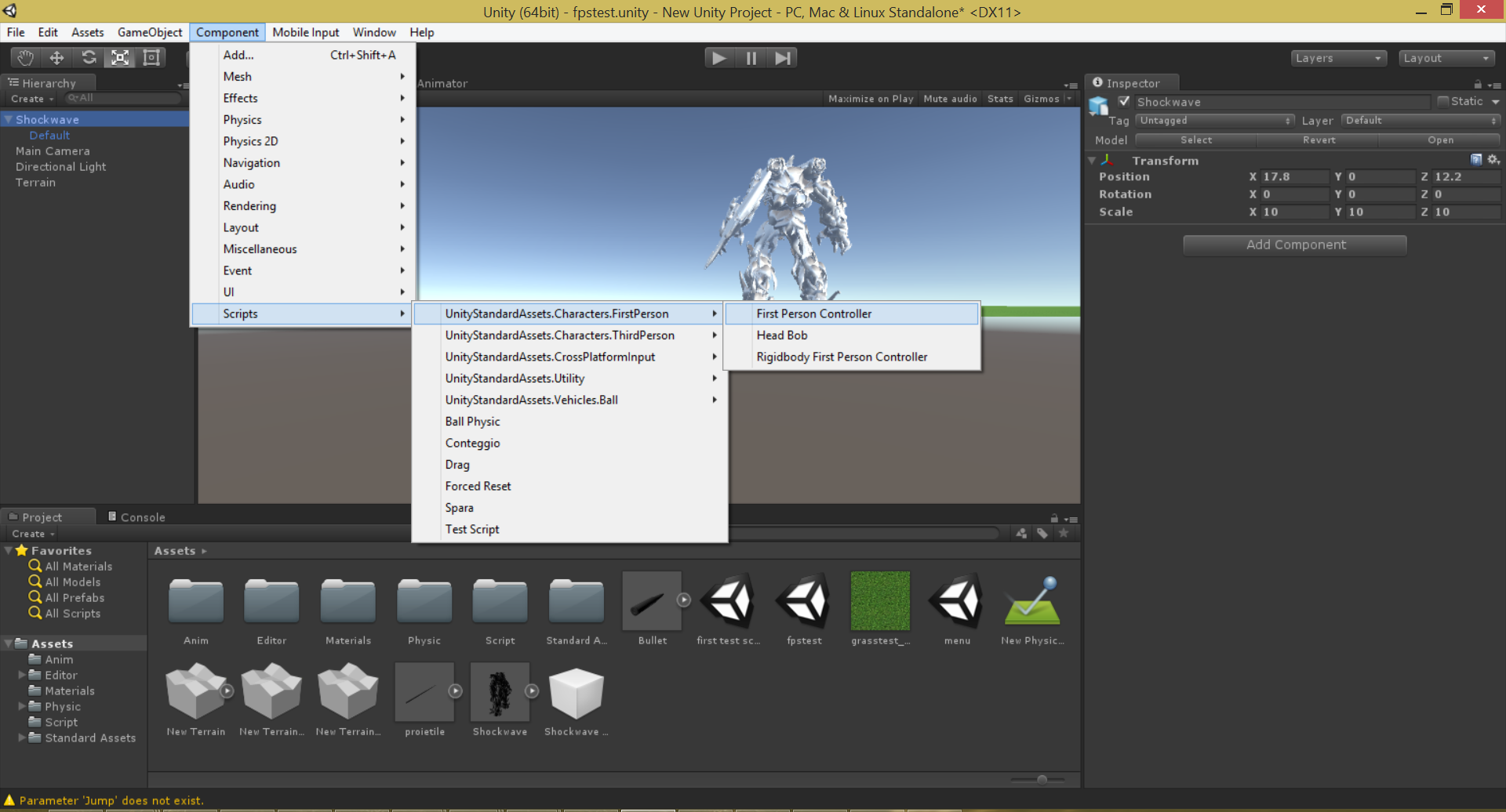 Unity3D 5 First Person Controller Standard Asset doesn't