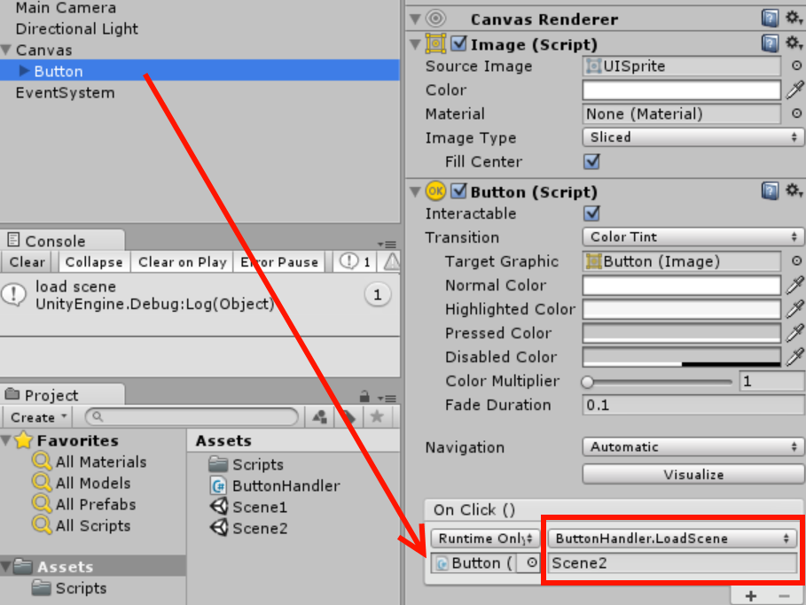 Loading scene with a prefab GUI button? - Unity Answers