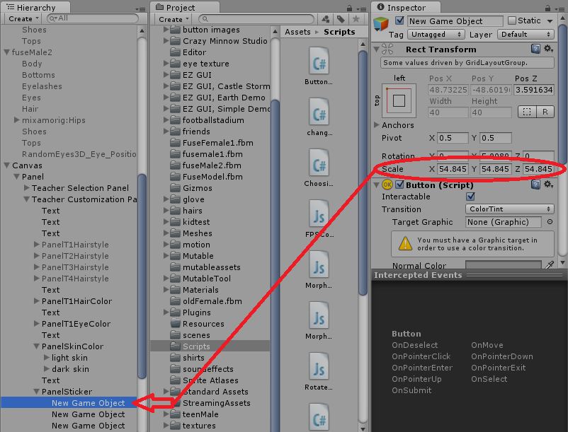 How do I scale the dynamically created buttons in unity3d
