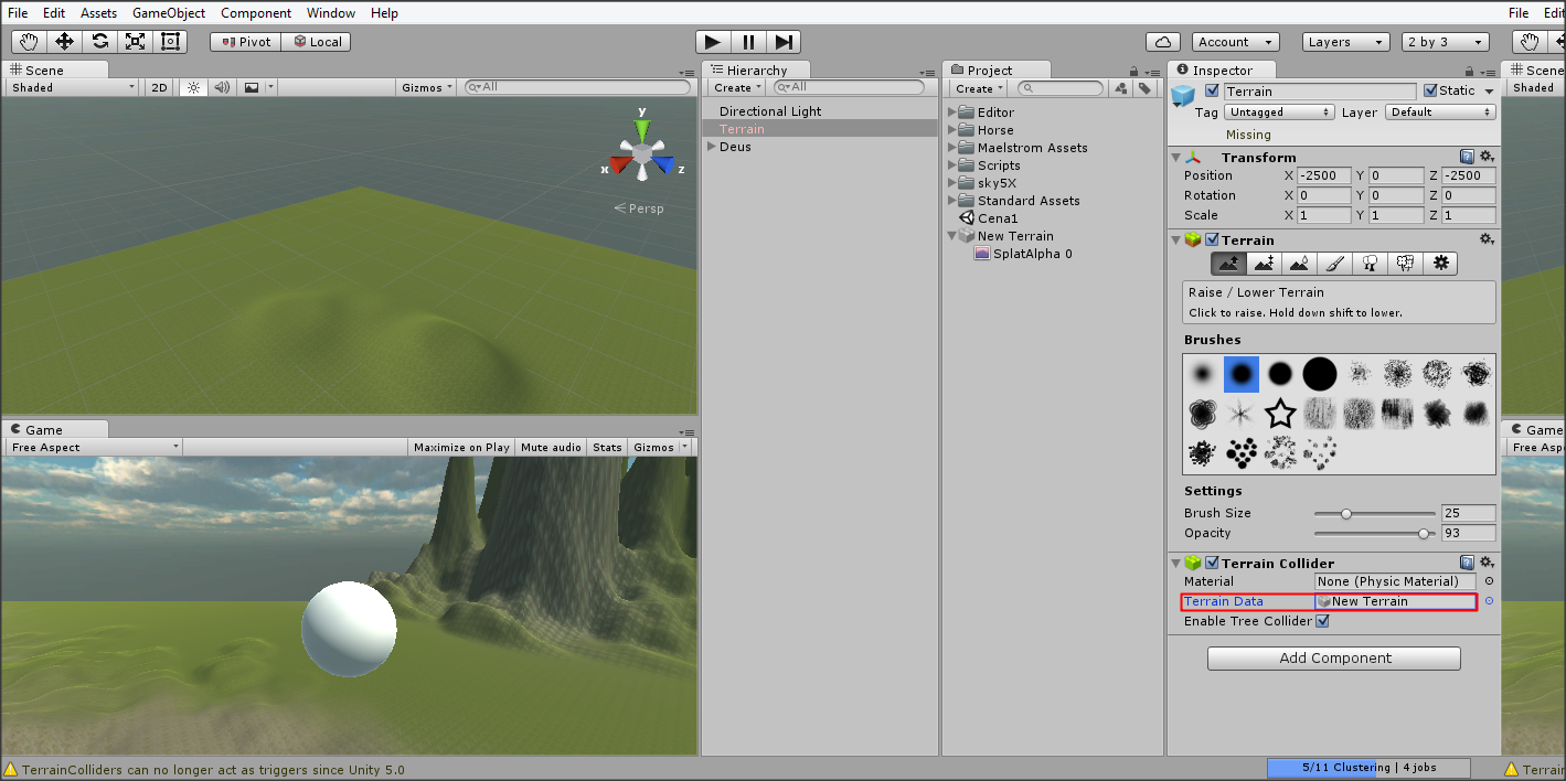 I cannot see the terrain brush anymore  - Unity Answers