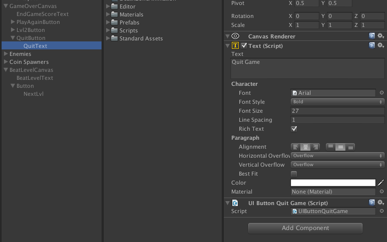 Quit Game button will not work - Unity Answers