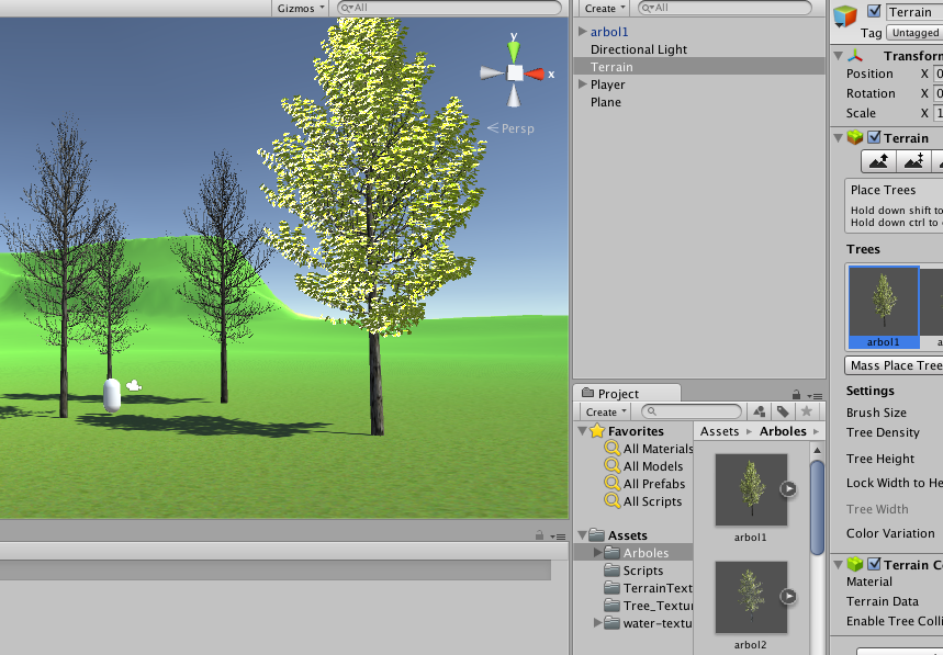 I have problems using the tree brush in terrain  I made some
