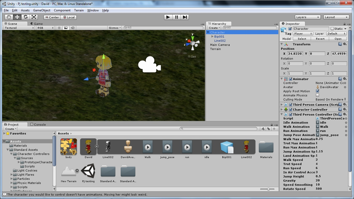Problem importing a fbx animation to a 3rd person controller - Unity