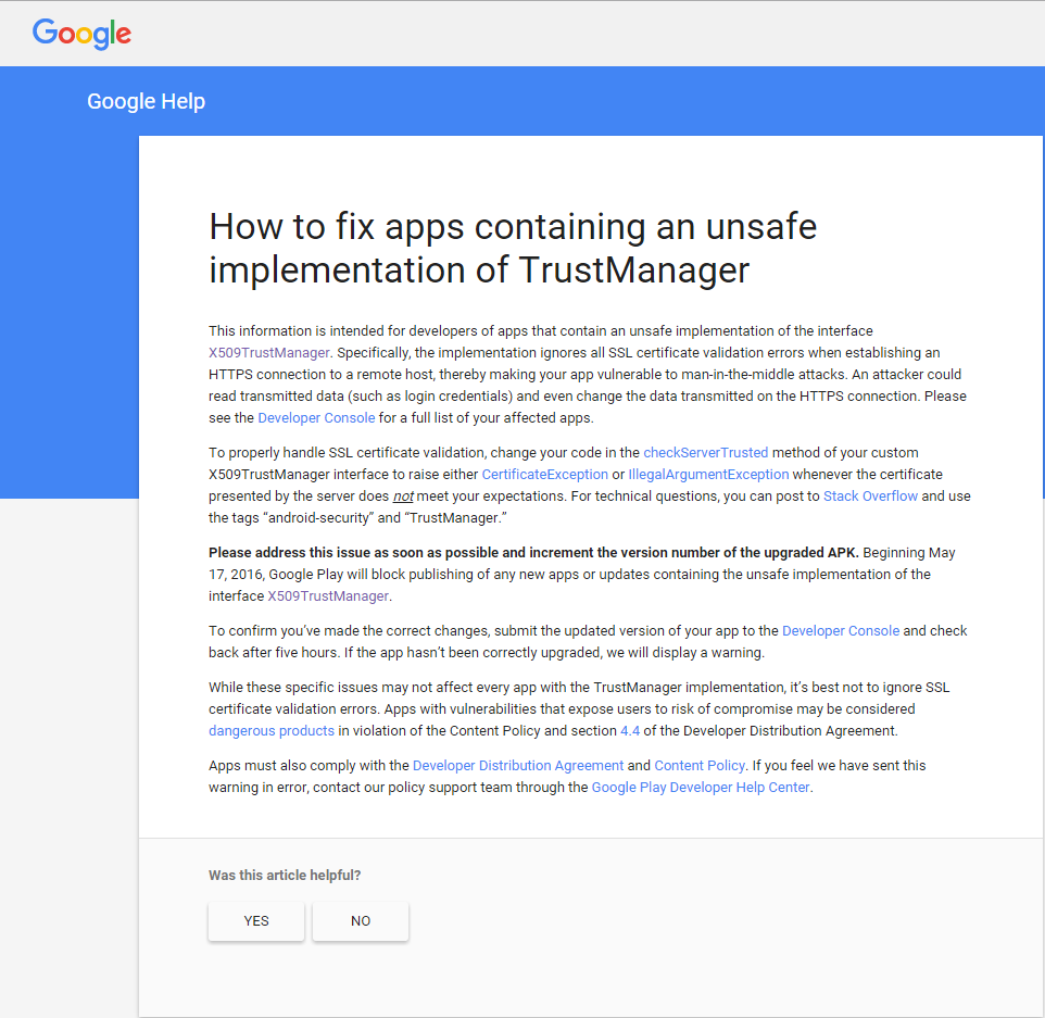 How to fix apps containing an unsafe implementation of trustmanager hi i have got an e mail from google today about unsafe implementation of trust manager details are attached below in the screenshot 1betcityfo Image collections