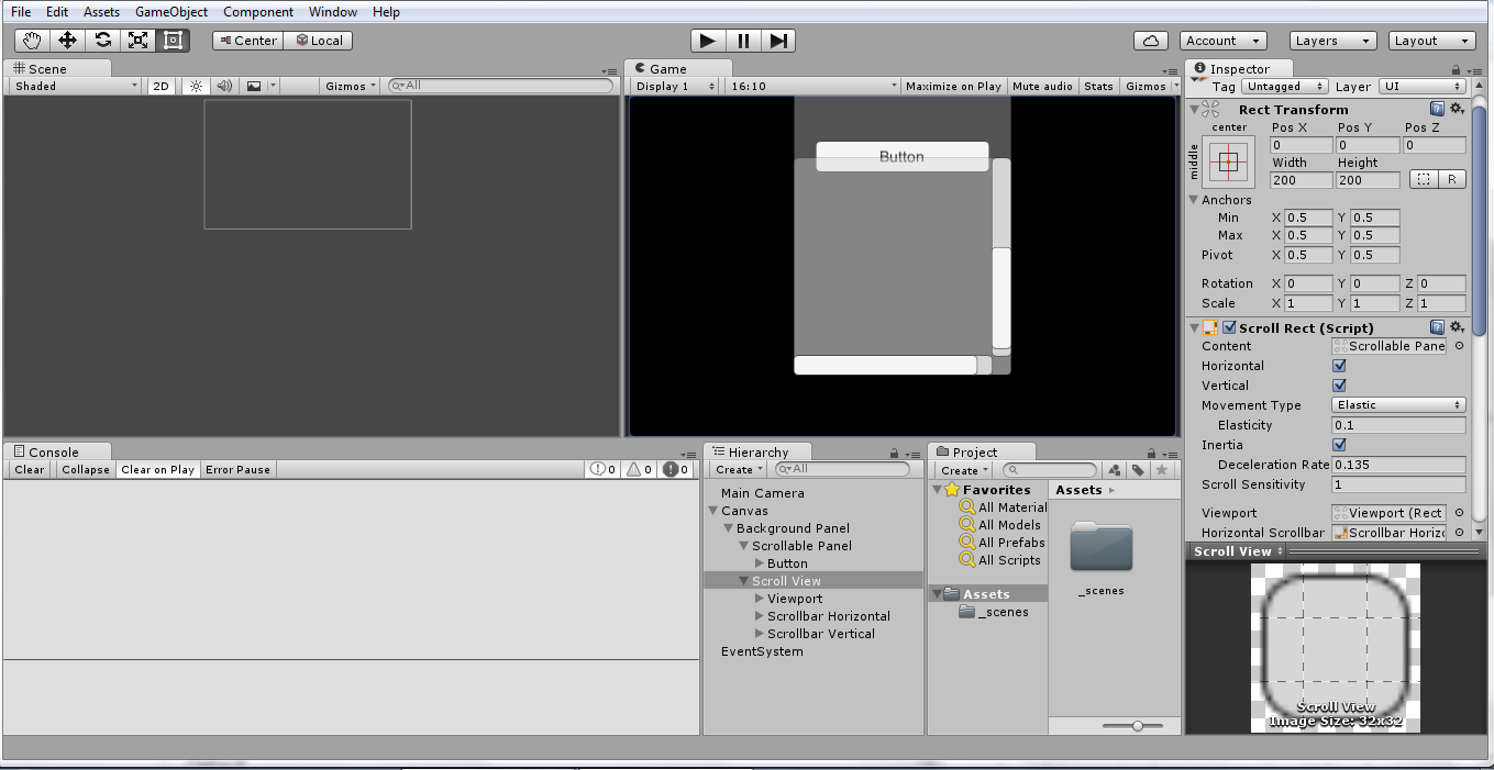 Scrollview over a panel - Mask issue,Scrollview on a panel (mask