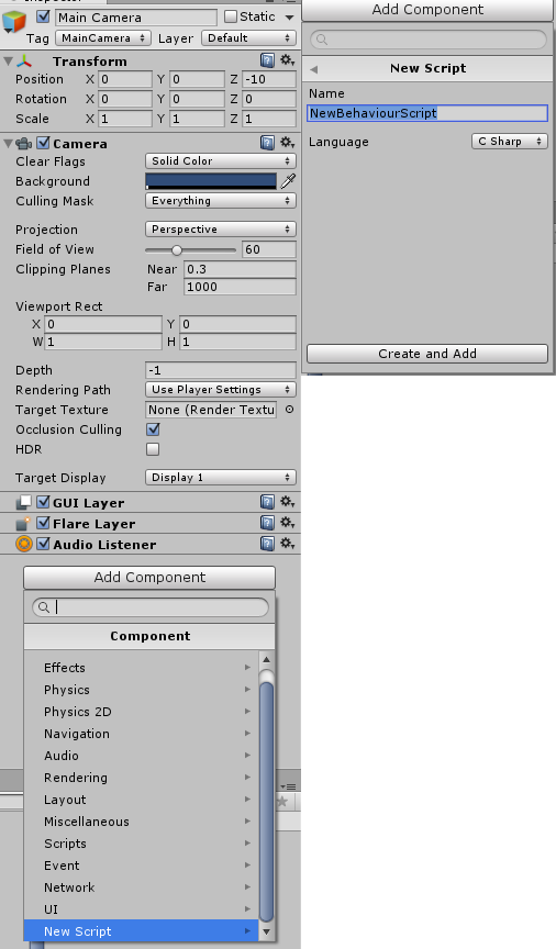 How can I put a new script on the main camera? - Unity Answers