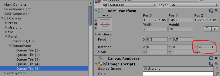 Passing Vector3 Values to RectTransform Rotation - Unity Answers