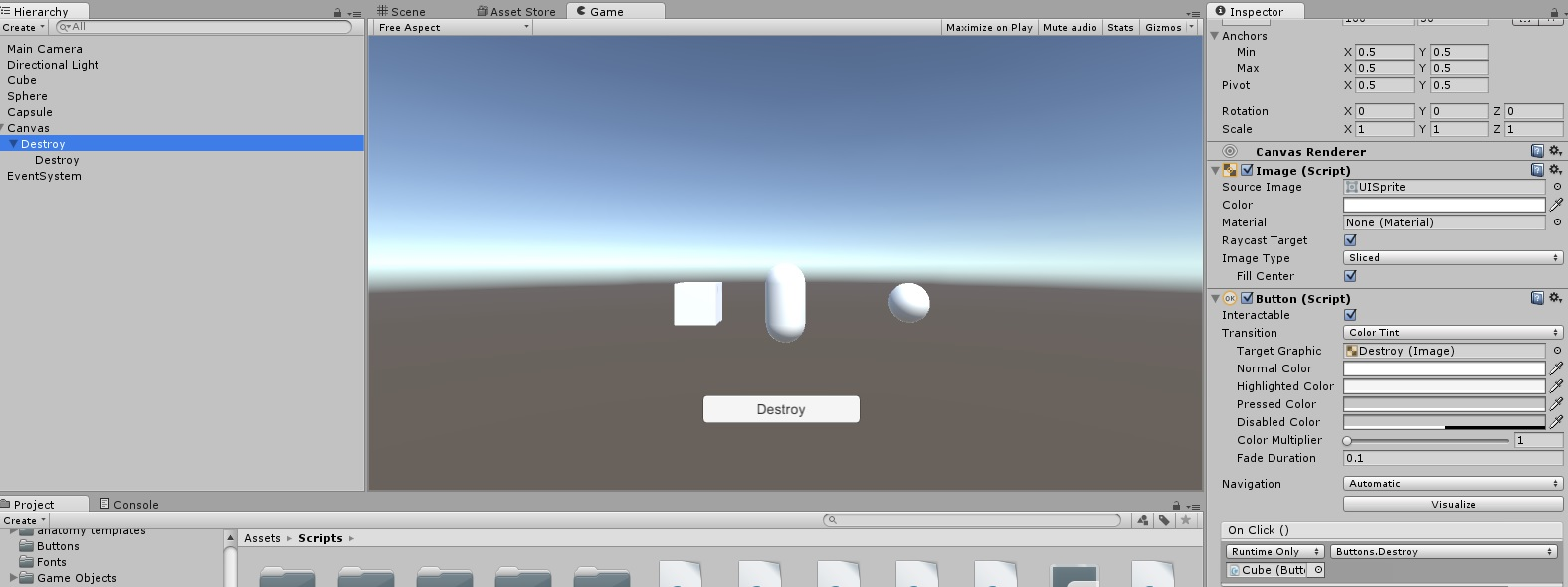 Destroy a Gameobject with a UI Button - Unity Answers
