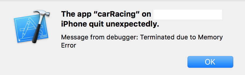 termination of xcode project due to memory error while