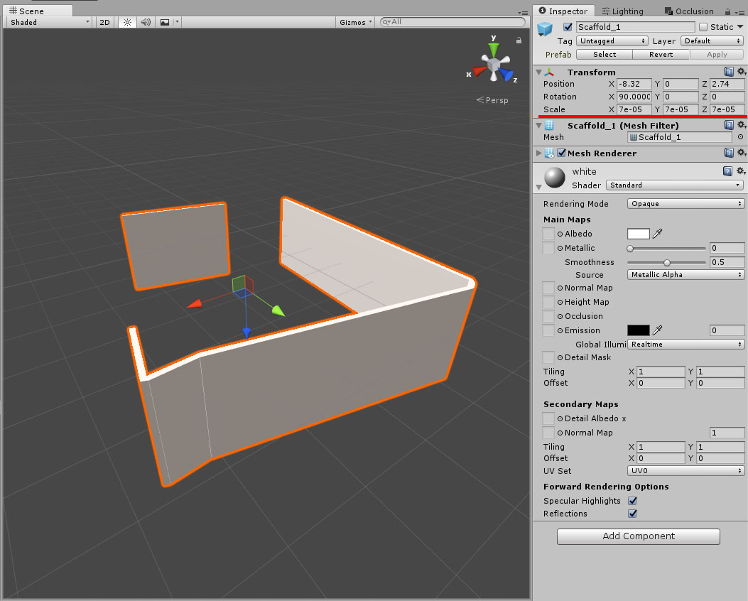 Scaling a Gameobject down alot makes the material black - Unity Answers