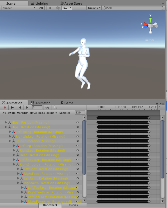 Apply an animation from BVH or data stream to a humanoid