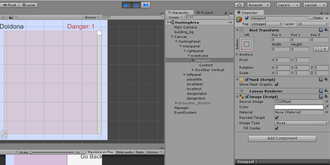 The scrollrect viewport breaks when changing scene - Unity