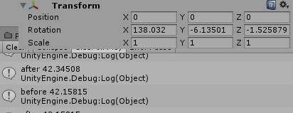 Inspector Euler angles deviates from Euler angles in code - Unity
