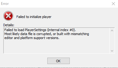 Failed to initialize player - Failed to load PlayerSettings (internal index #0)
