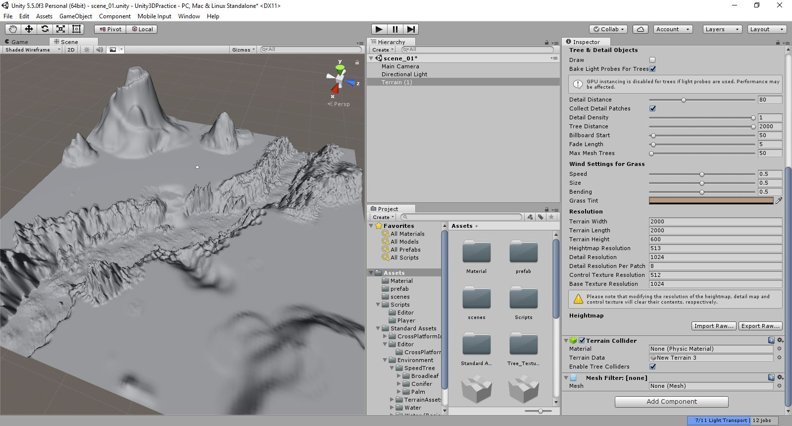 Terrain in Editor Not Appearing as Shaded Wireframe and Blue Terrain