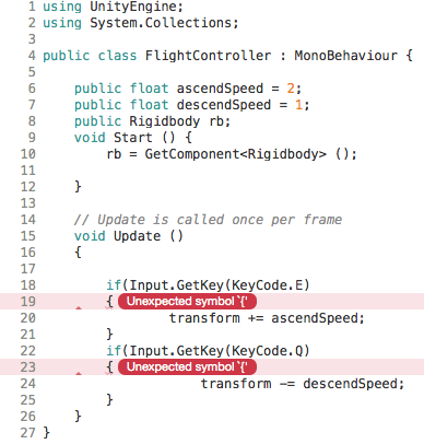 Unexpected symbol '{' error in c# if statement - Unity Answers
