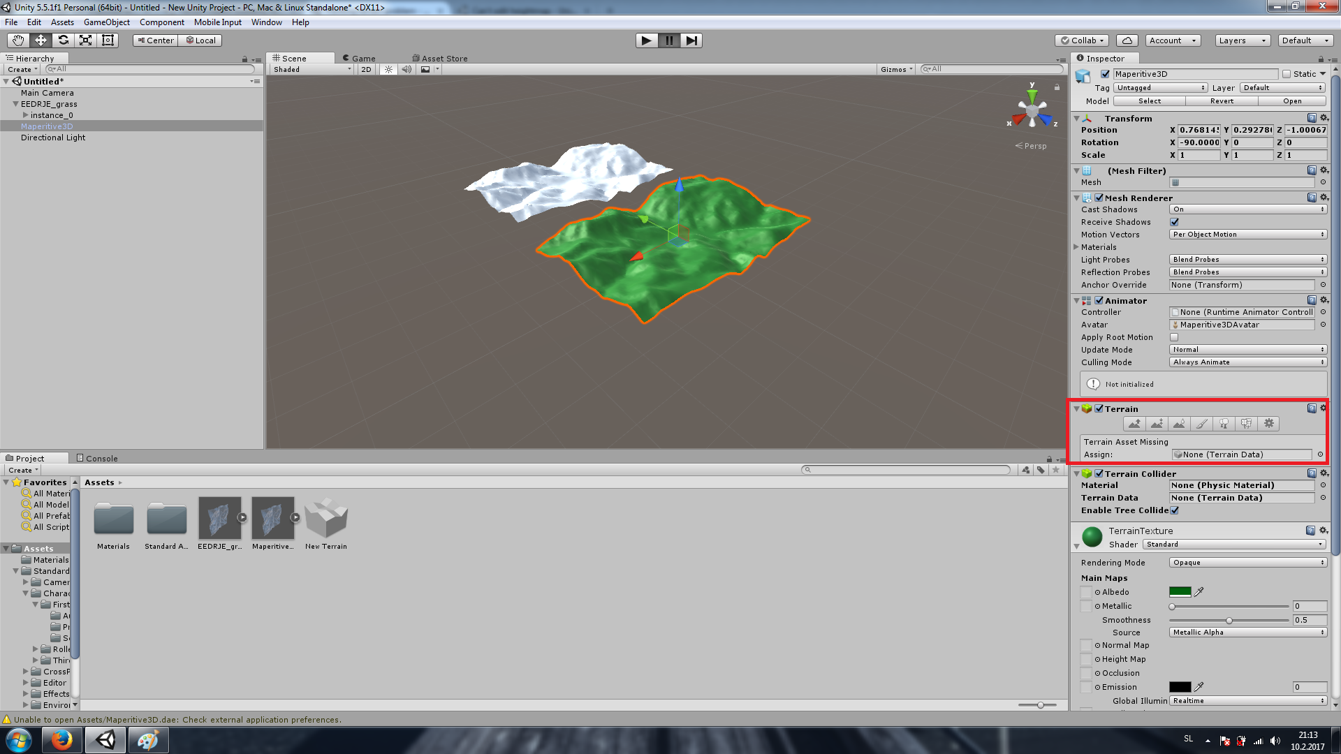 Can't edit imported terrain (dae  or fbx ) - Unity Answers