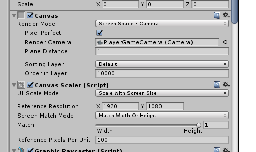 Scale a canvas based on reference camera viewport - Unity